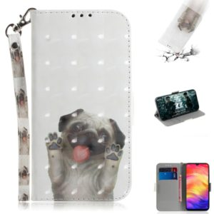 3D Coloured Drawing Horizontal Flip Leather Case with Holder & Card Slots & Wallet For Huawei P30(Pug)