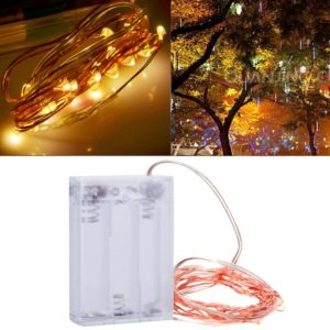 2m 100LM LED Copper Wire String Light, Warm White Light , 3 x AA Batteries Powered SMD-0603 Festival Lamp / Decoration Light Strip