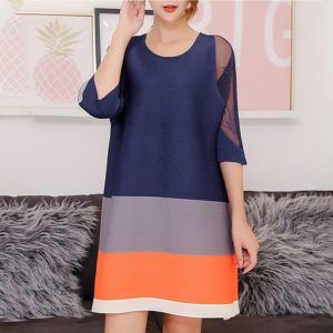 A Word Loose Fashion Style Mesh Dress (Color:Navy Blue Size:One Size)