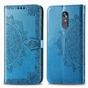 For LG Stylo 5 Halfway Mandala Embossing Pattern Horizontal Flip Leather Case with Holder & Card Slots & Wallet & Lanyard(Blue)