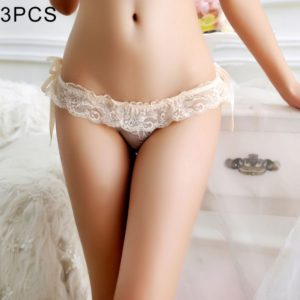 3 PCS FunAdd Women Fashion Sexy Lace Transparent Underwear Straps Low-waisted Enticing Panties, Free Size (Flesh Color) (FunAdd)