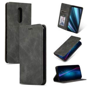 Retro Skin Feel Business Magnetic Horizontal Flip Leather Case for Sony Xperia 1 & Xperia XZ4(Dark Gray)