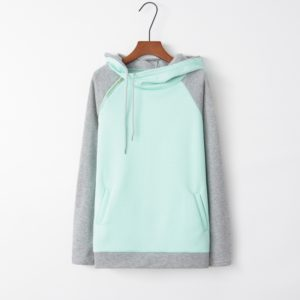 Stitched Hooded Zipper Long Sleeve Sweatshirt (Color:Light Green Size:L)