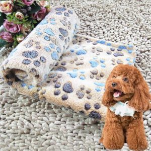 Dog Kennel Mat Footprints Pattern Thick Warm Coral Fleece Pet Dog Blankets, Size: S, 40*60cm (Coffee)