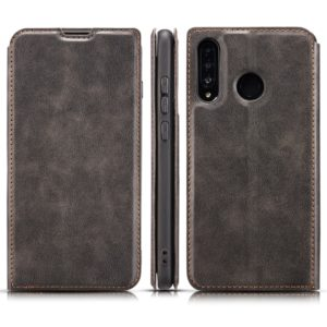 Retro Simple Ultra-thin Magnetic Leather Case with Holder & Card Slots & Lanyard for Huawei Y9 Prime 2019(Black)