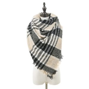 Autumn and Winter Warm Double-sided Color Grid Circle Yarn Large Square Towel Thorn Hair Bib Shawl for Women (A725)