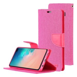 GOOSPERY CANVAS DIARY Canvas Texture Horizontal Flip PU Leather Case for Galaxy S10 Plus, with Holder & Card Slots & Wallet (Magenta) (GOOSPERY)