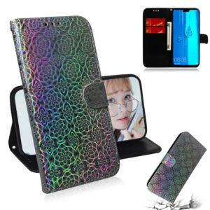 For Huawei Y9 (2019) / Enjoy 9 Plus Solid Color Colorful Magnetic Buckle Horizontal Flip PU Leather Case with Holder & Card Slots & Wallet & Lanyard(Silver)