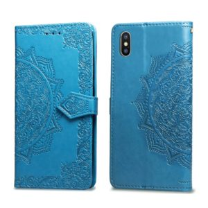 For iPhone XS Max Halfway Mandala Embossing Pattern Horizontal Flip Leather Case with Holder & Card Slots & Wallet & Lanyard(Blue)