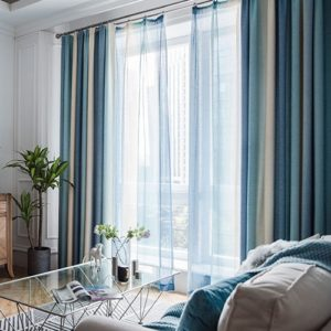 Modern Colorful Striped Curtains for Living Room Bedroom Blackout Printed Curtain and Tulle Drape Curtains Size: 4*2.7m Grommet Top(Blue)