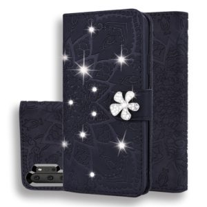 For Galaxy Note 10+ Calf Pattern Diamond Mandala Double Folding Design Embossed Leather Case with Wallet & Holder & Card Slots(Black)