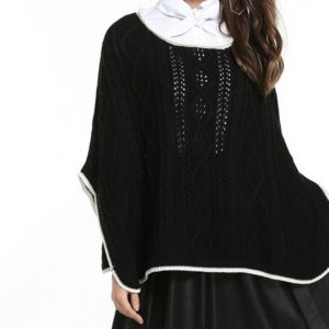 Loose Header Knitted Blouse Cape Sweater, Size: One Size( Black )