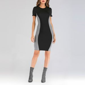 Round Neck Stitching Silver Wire Slim Fit Sexy Dress, Size: S(Black )