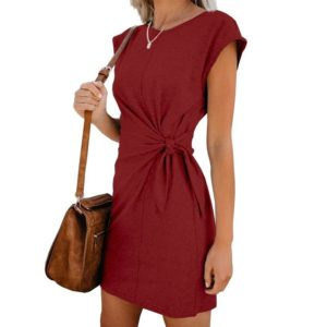 Round Neck Lace Short-sleeved Dress (Color:Wine Red Size:L)