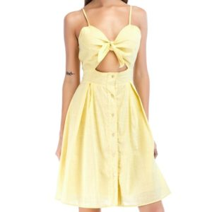 Slinged Umbilical Single-breasted Dress (Color:Yellow Size:M)