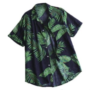 Cotton Casual Beach Holiday Print Shirt for Men, Size:M(Green)