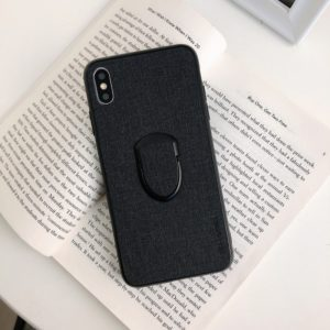 Cloth Texture Dropproof TPU Protective Case for iPhone XS Max, with Holder (Black)
