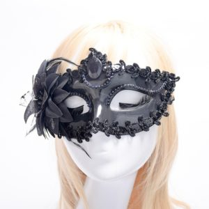 Halloween Masquerade Party Dance Plating Side Flower Feather Venice Princess Mask(Black)