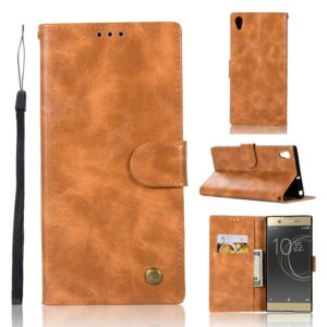 For Sony Xperia XA Ultra / C6 Retro Copper Button Crazy Horse Horizontal Flip PU Leather Case with Holder & Card Slots & Wallet & Lanyard(Gold Yellow)