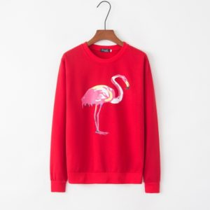 Flamingo Pattern Print Plus Velvet Crew Neck Long Sleeve Sweatershirt (Color:Red Size:XL)