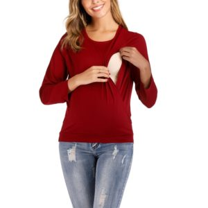 Round Neck Long Sleeve Nursing Maternity Long Sleeve Blouse (Color:Red Size:S)