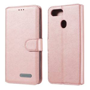 For OPPO F9 Solid Color Buckle Horizontal Flip Leather Case with Wallet & Holder & Card Slots(Rose Gold)