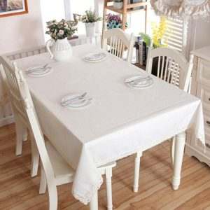 Linen Cotton Thicken Tablecloth Hem Splice Washable Coffee Dinner Table Cloth for Wedding Banquet, Size:140x200cm(White Lace)