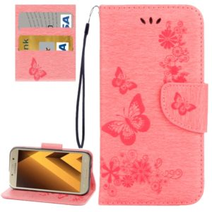 For Galaxy A7 (2017) / A720 Butterflies Embossing Horizontal Flip Leather Case with Holder & Card Slots & Wallet & Lanyard (Pink)