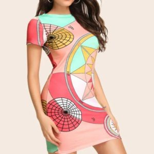 Printed Totem Round Neck Slim Dress (Color:As Show Size:M)