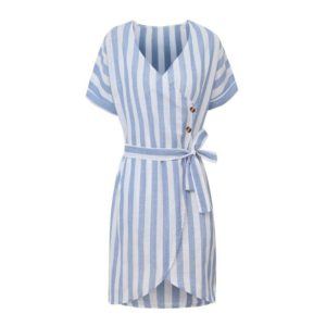 V-neck Short-sleeved Striped Cardigan Lace-up Dress (Color:Blue Size:S)