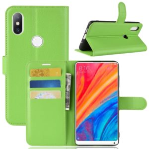 Litchi Texture Horizontal Flip Leather Case for Xiaomi Mi Mix 2S, with Wallet & Holder & Card Slots(Green)
