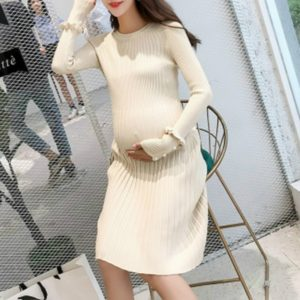 Elegant Ruffles Maternity Knitted Dress Clothes, Size:M(Apricot)