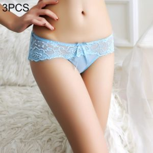3 PCS FunAdd Women Comfortable Lace Gauze Bowknot Sexy Underwear Hollow Low-waisted Enticing Panties, Free Size (Blue) (FunAdd)