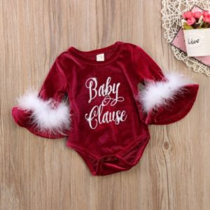 Baby Christmas Style Letter Pattern Long Trumpet Sleeves Jumpsuit Romper, Kid Size: 100cm