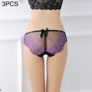 3 PCS FunAdd Women Embroidered Flowers Beauty Buttocks Sexy Underwear Transparent Low-waisted Enticing Panties, Free Size (Purple) (FunAdd)