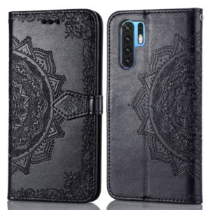 For Huawei P30 Pro Halfway Mandala Embossing Pattern Horizontal Flip Leather Case with Holder & Card Slots & Wallet & Lanyard(Black)