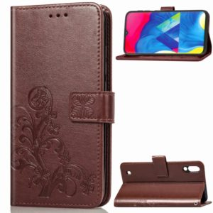 Lucky Clover Pressed Flowers Pattern Leather Case for Galaxy M10, with Holder & Card Slots & Wallet & Hand Strap (Brown)