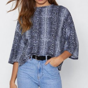 Casual Round Neck Snake Print Seven-point Sleeves Chiffon Shirt, Size: L(Blue )