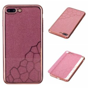 For iPhone 8 Plus & 7 Plus Electroplating Small Cubes TPU Protective Back Cover Case(Rose Gold)