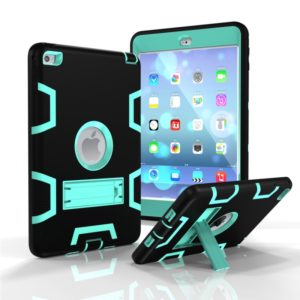 Contrast Color Silicone + PC Shockproof Case for iPad mini 5 / mini 4, with Holder(Black+Mint Green)