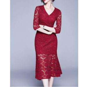 Long Sleeve Slim Dress (Color:Red Size:S)