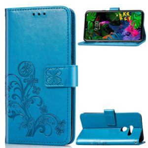 Lucky Clover Pressed Flowers Pattern Leather Case for LG G8 ThinQ, with Holder & Card Slots & Wallet & Hand Strap (Blue)