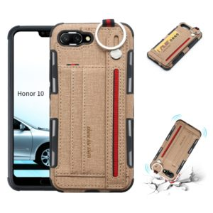 For Huawei Honor 10 Cloth Texture + TPU Shockproof Protective Case with Metal Ring & Holder & Card Slots & Hanging Strap(Khaki)