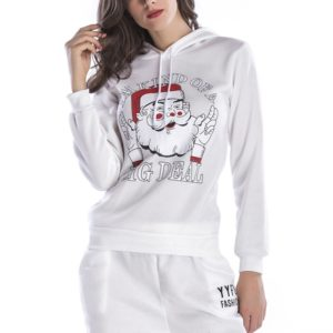Hooded Long Sleeve Casual Loose Sweatshirt (Color:White Size:M)