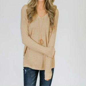 Casual Loose V-neck Solid Color Long-sleeved T-shirt, Size: M(Khmer)
