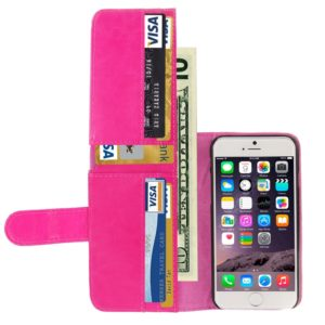 Crazy Horse Texture Wallet Style Leather Case with Card Slots for iPhone 6 Plus & 6S Plus(Magenta)