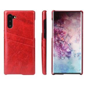 Fierre Shann Retro Oil Wax Texture PU Leather Case with Card Slots for Galaxy Note 10(Red)