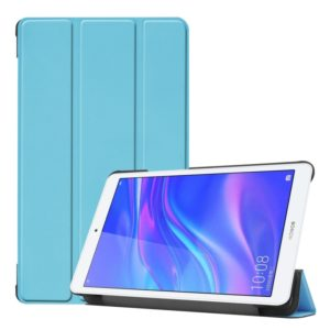 Solid Color Custer Texture Horizontal Flip PU Leather Case for Huawei Honor Tab 5 8.0, with Three-folding Holder (Sky Blue)