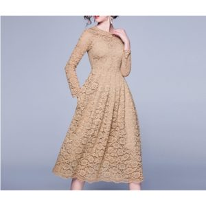 Long Sleeve Slim Lace Fashion Dress (Color:Gold Size:XXL)