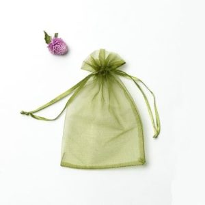100 PCS Gift Bags Jewelry Organza Bag Wedding Birthday Party Drawable Pouches, Gift Bag Size:13X18cm(Army Green)